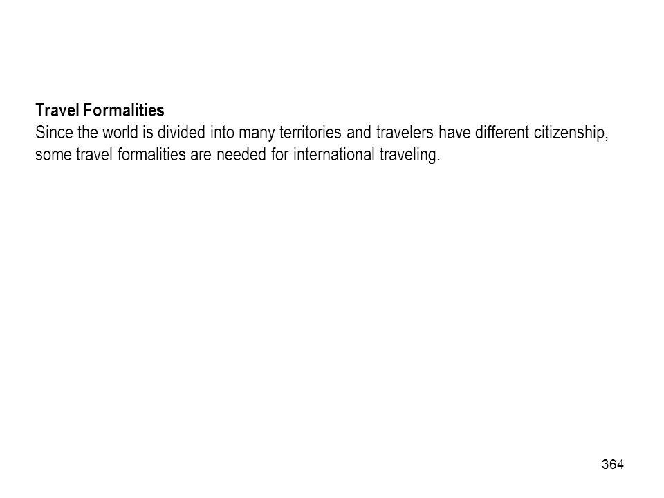 Travel Formalities