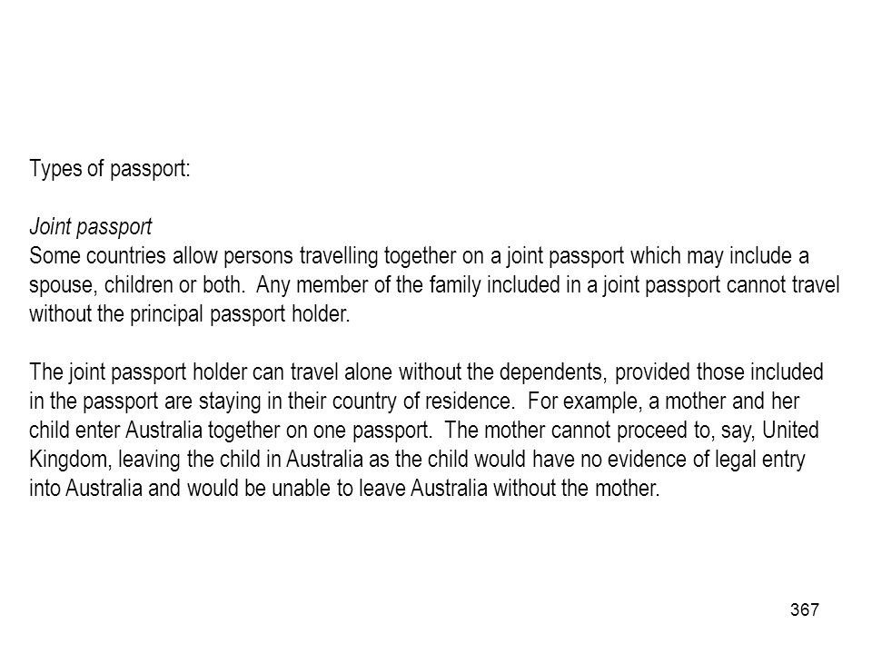 Types of passport: Joint passport.