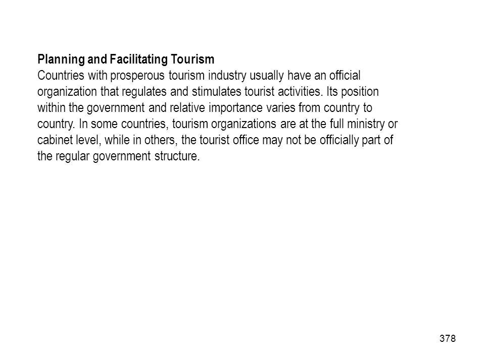 Planning and Facilitating Tourism