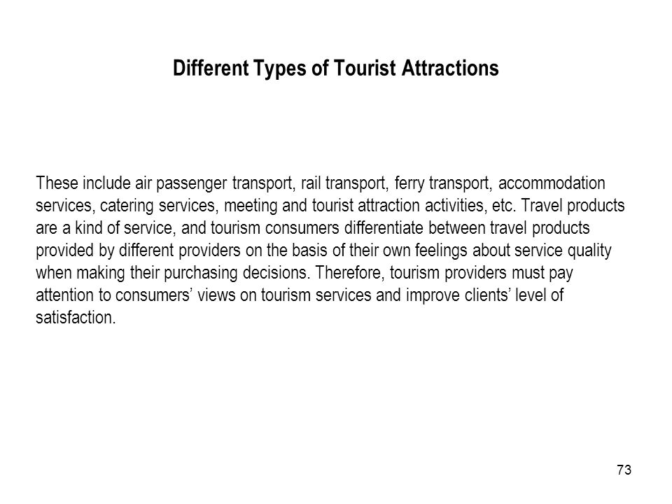 Different Types of Tourist Attractions