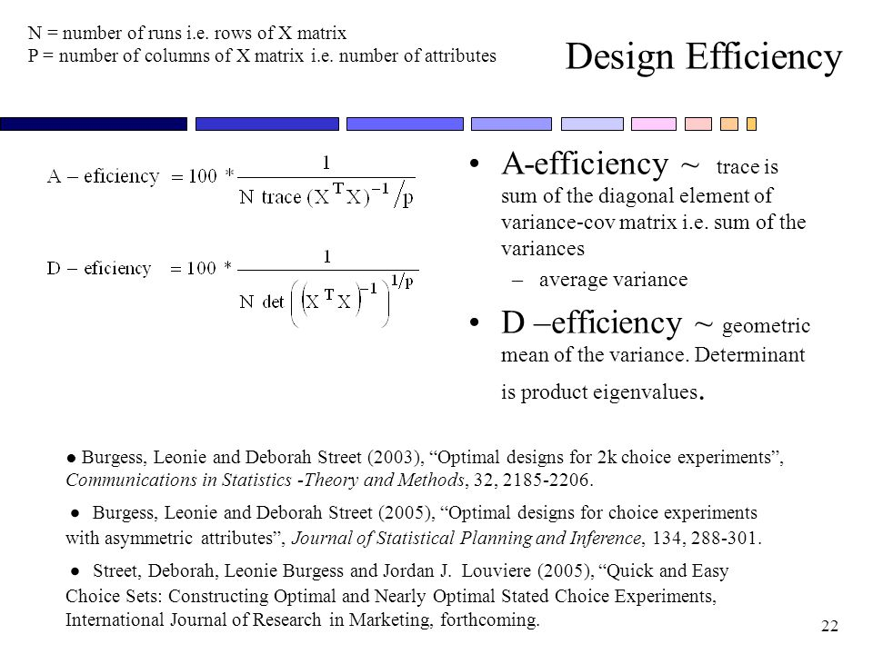 Design Efficiency N = number of runs i.e. rows of X matrix. P = number of columns of X matrix i.e. number of attributes.