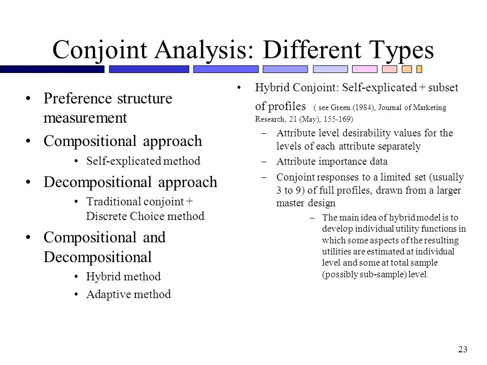 Conjoint Analysis: Different Types