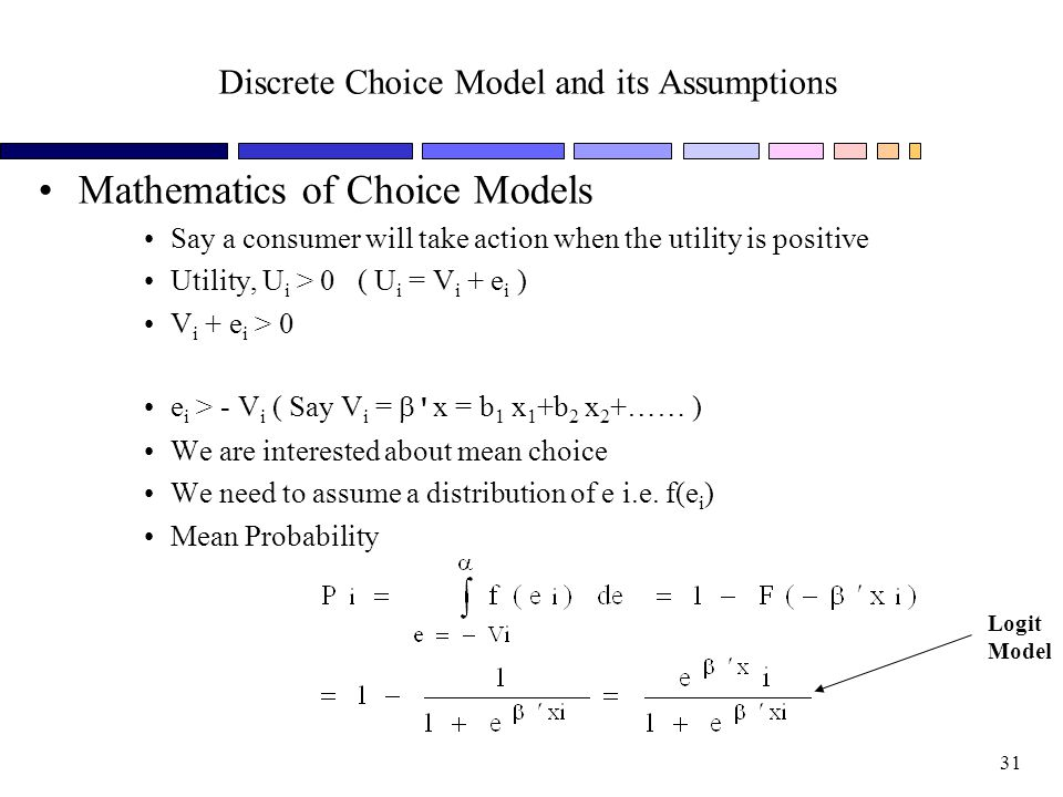 Discrete Choice Model and its Assumptions