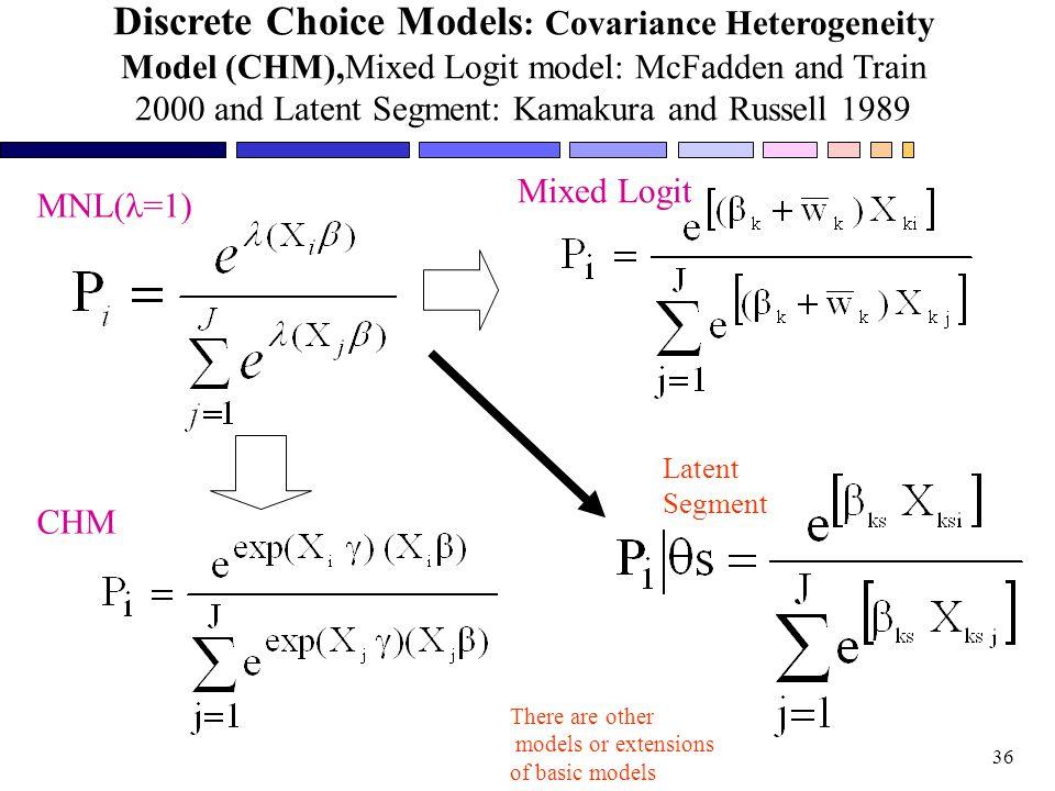 Discrete Choice Models: Covariance Heterogeneity Model (CHM),Mixed Logit model: McFadden and Train 2000 and Latent Segment: Kamakura and Russell 1989