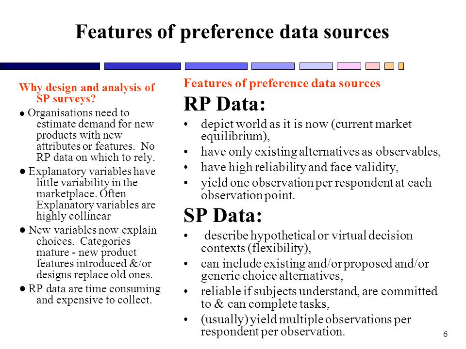 Features of preference data sources