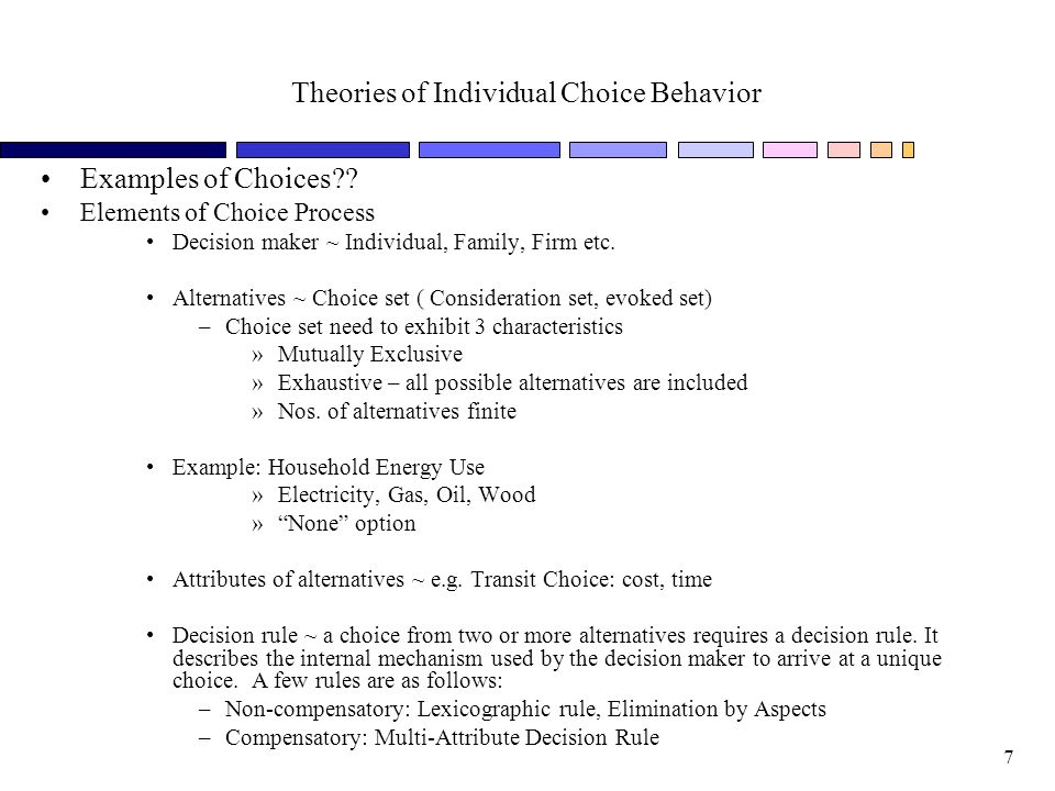 Theories of Individual Choice Behavior