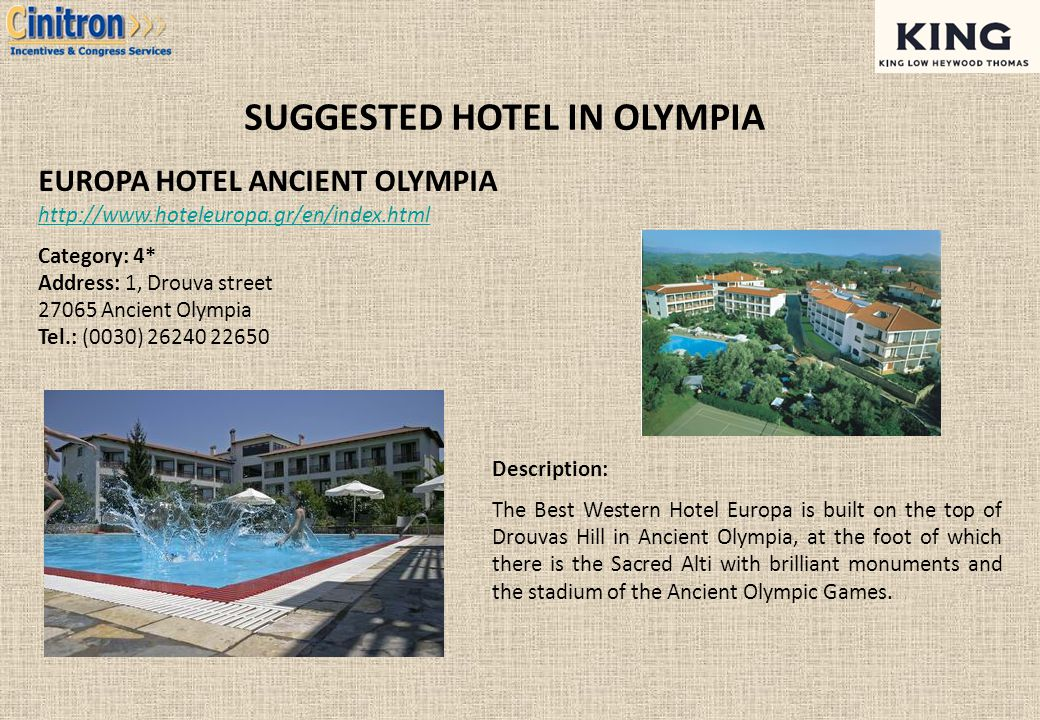 SUGGESTED HOTEL IN OLYMPIA