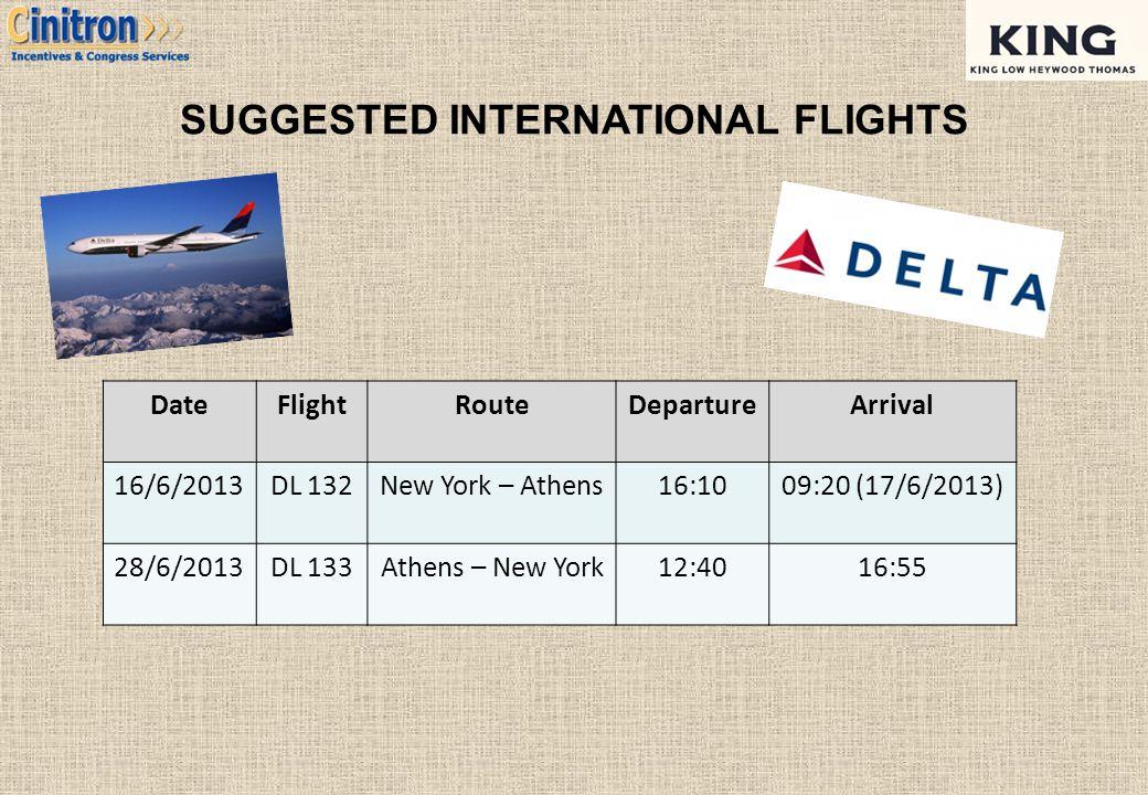 SUGGESTED INTERNATIONAL FLIGHTS