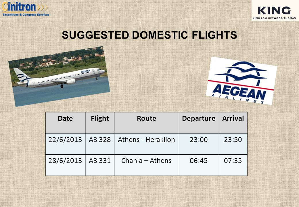 SUGGESTED DOMESTIC FLIGHTS