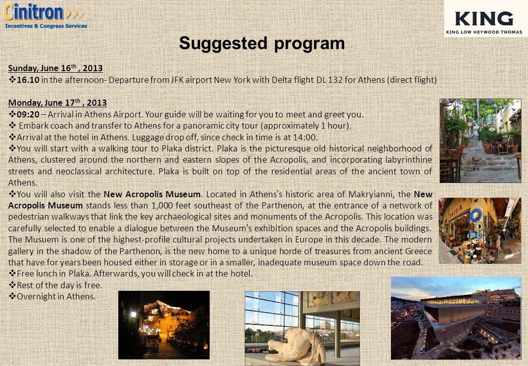 Suggested program Sunday, June 16th , 2013