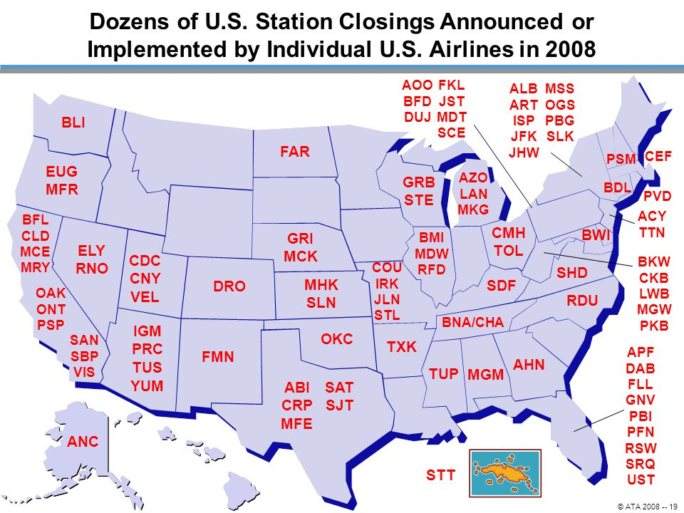 Dozens of U.S. Station Closings Announced or Implemented by Individual U.S. Airlines in 2008