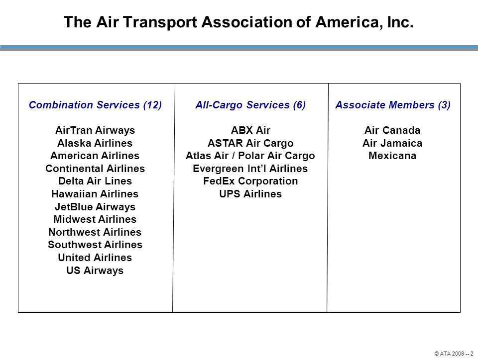 The Air Transport Association of America, Inc.