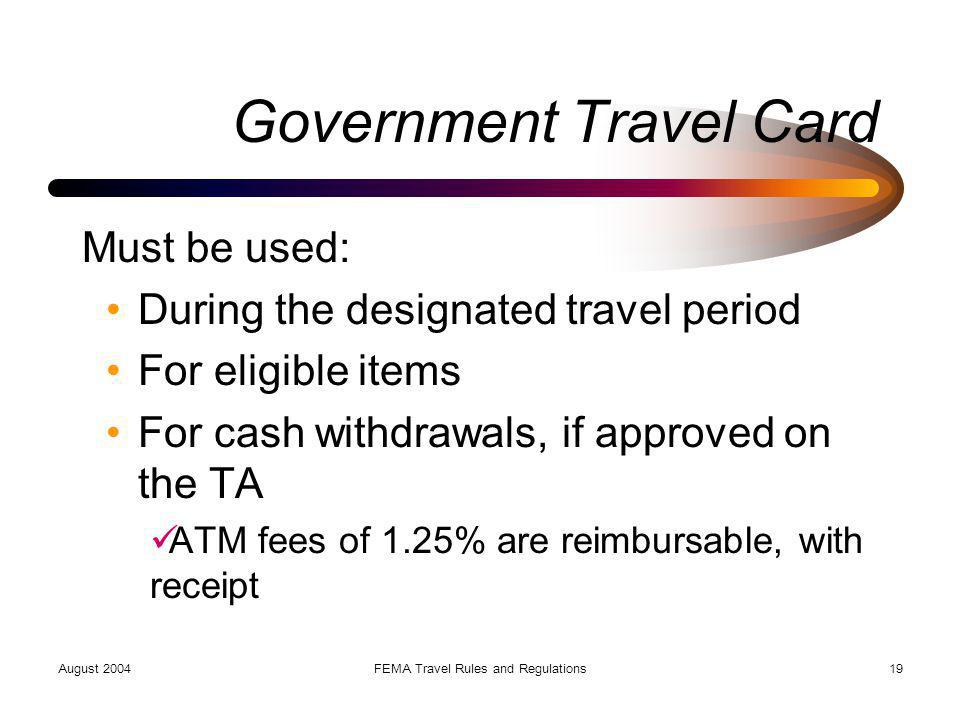 Government Travel Card