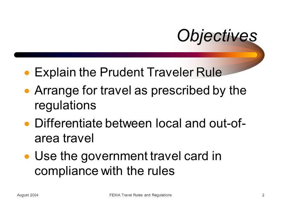 FEMA Travel Rules and Regulations