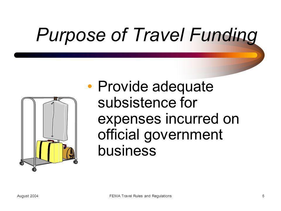 Purpose of Travel Funding
