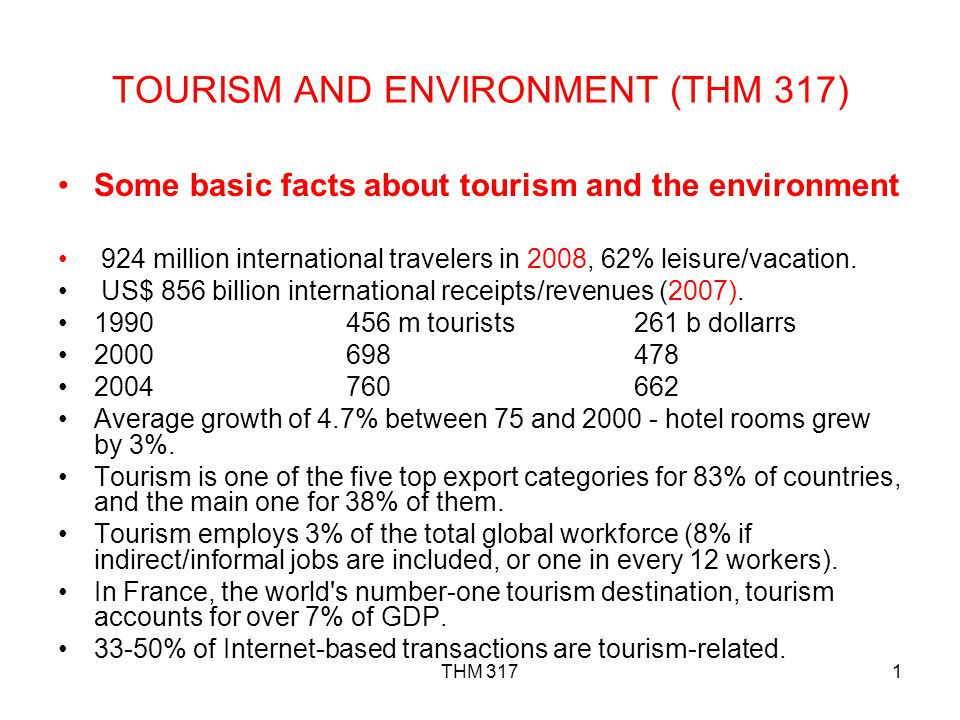 TOURISM AND ENVIRONMENT (THM 317)