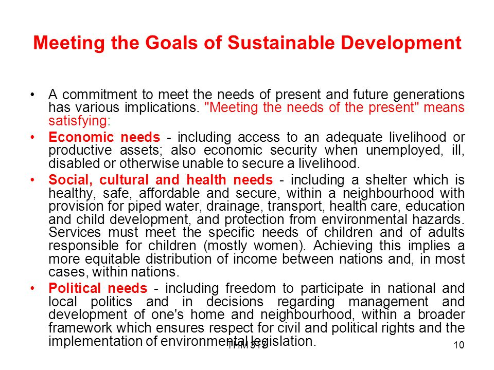 Meeting the Goals of Sustainable Development
