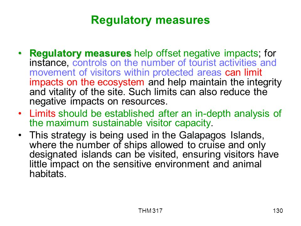Regulatory measures