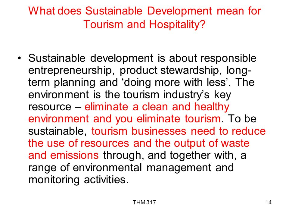 What does Sustainable Development mean for Tourism and Hospitality