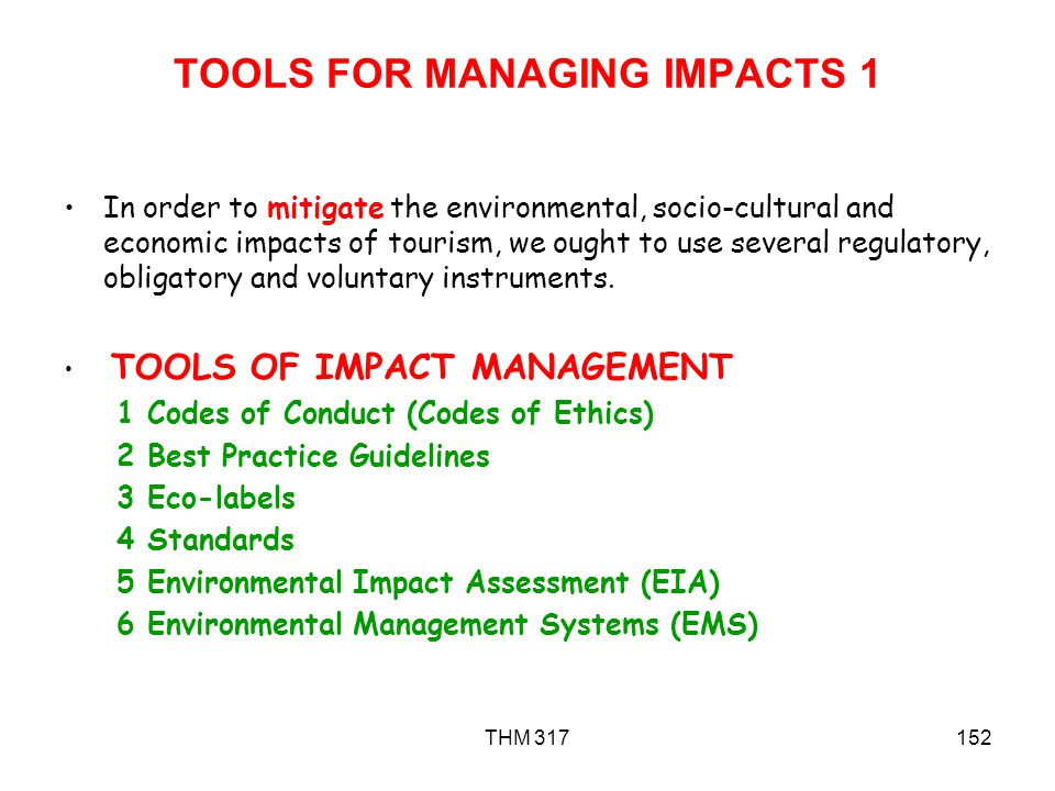 TOOLS FOR MANAGING IMPACTS 1