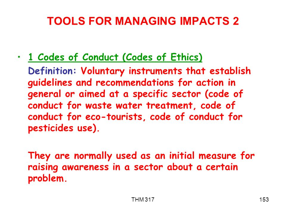 TOOLS FOR MANAGING IMPACTS 2