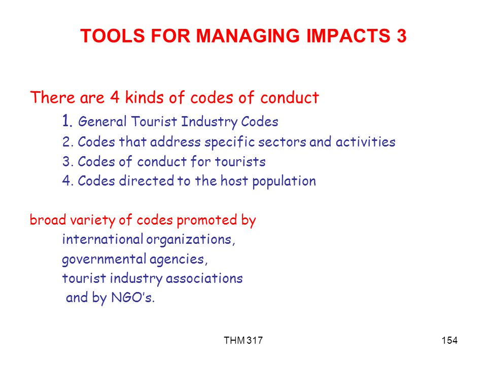 TOOLS FOR MANAGING IMPACTS 3