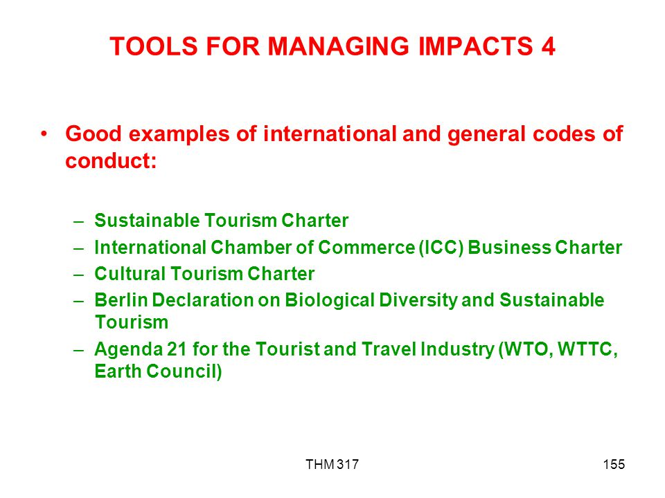 TOOLS FOR MANAGING IMPACTS 4