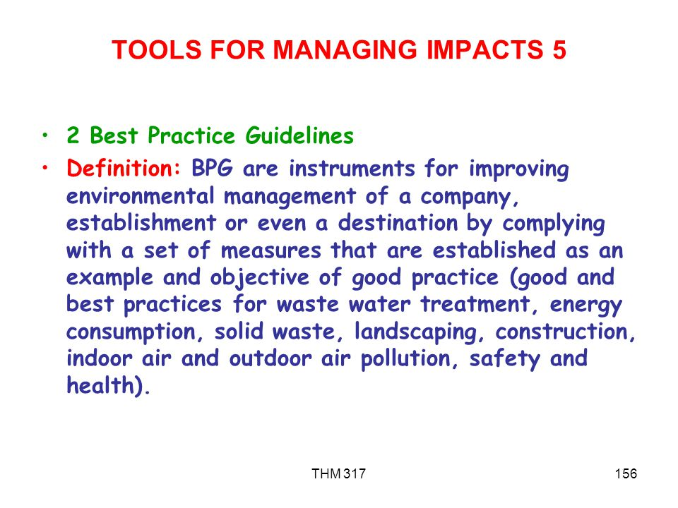 TOOLS FOR MANAGING IMPACTS 5