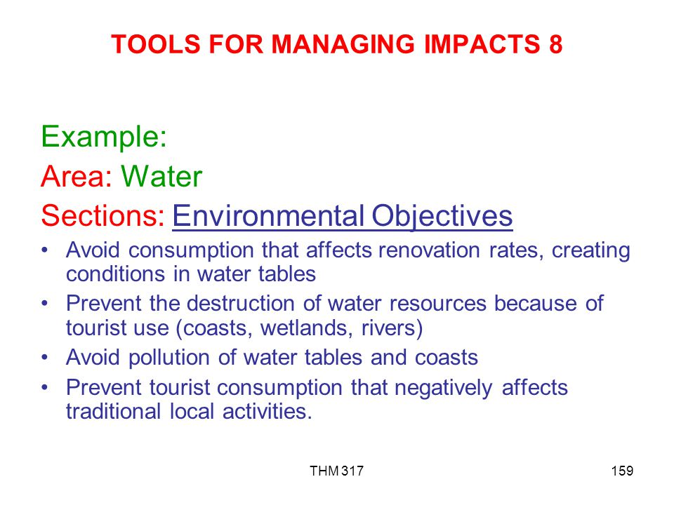 TOOLS FOR MANAGING IMPACTS 8
