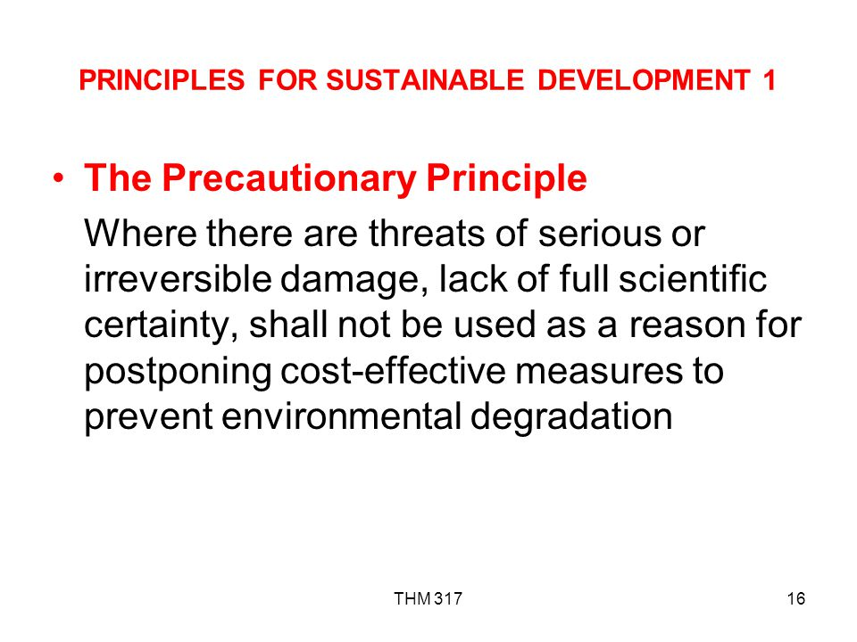 PRINCIPLES FOR SUSTAINABLE DEVELOPMENT 1