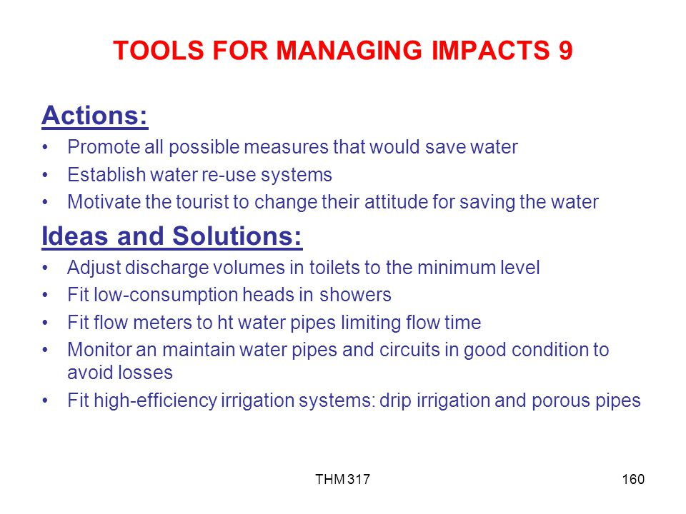 TOOLS FOR MANAGING IMPACTS 9