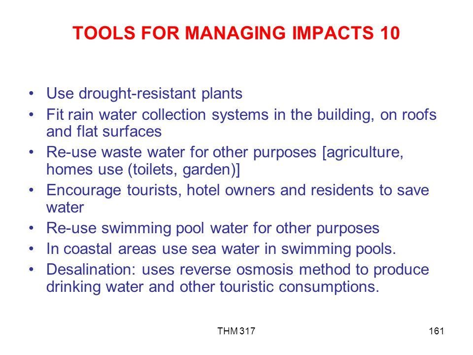 TOOLS FOR MANAGING IMPACTS 10