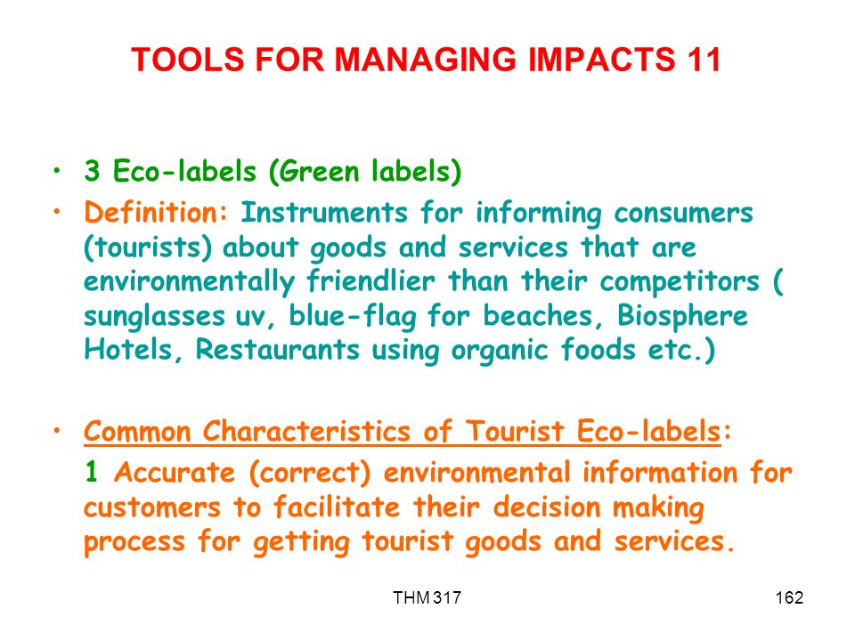 TOOLS FOR MANAGING IMPACTS 11