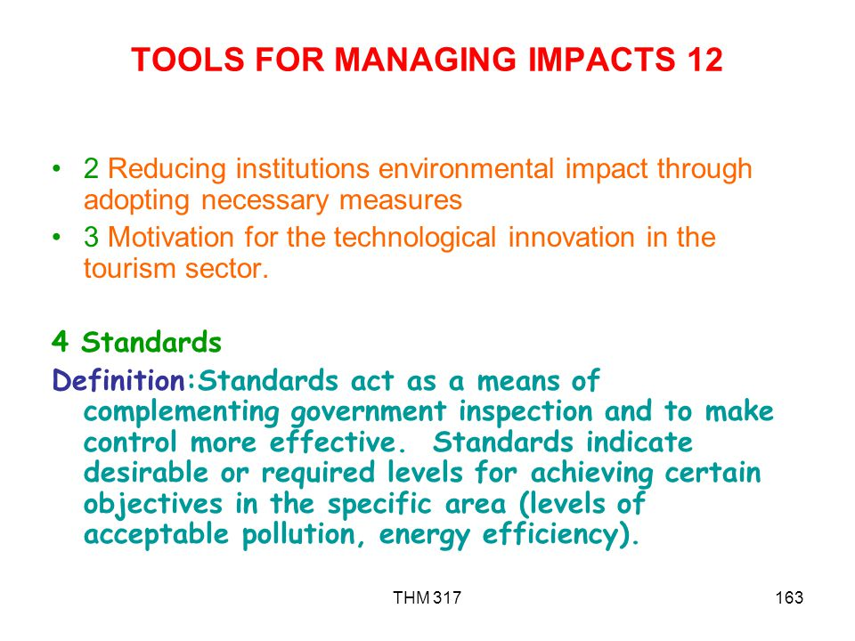TOOLS FOR MANAGING IMPACTS 12