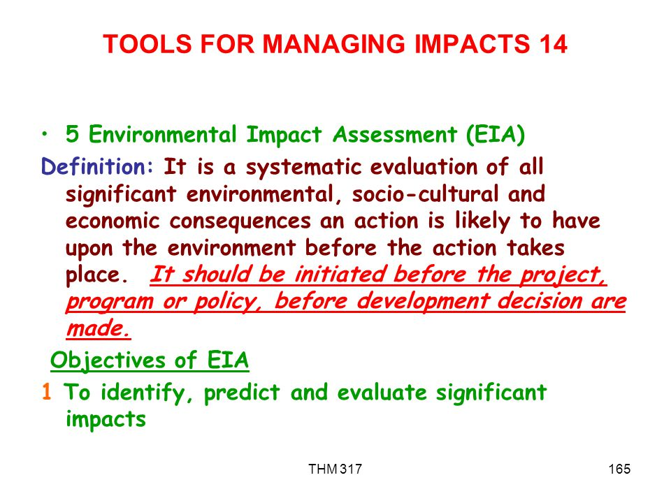 TOOLS FOR MANAGING IMPACTS 14
