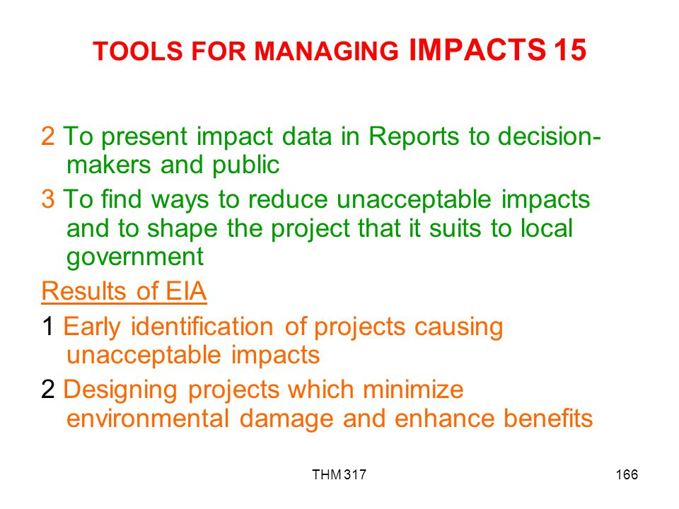 TOOLS FOR MANAGING IMPACTS 15