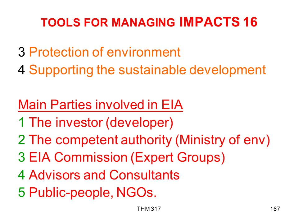 TOOLS FOR MANAGING IMPACTS 16