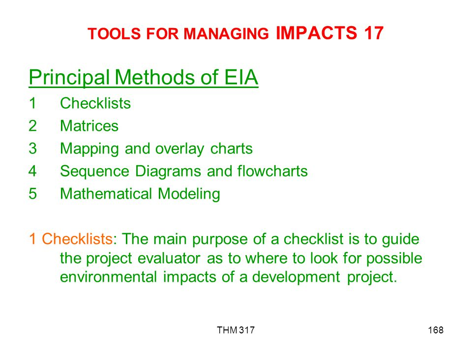 TOOLS FOR MANAGING IMPACTS 17