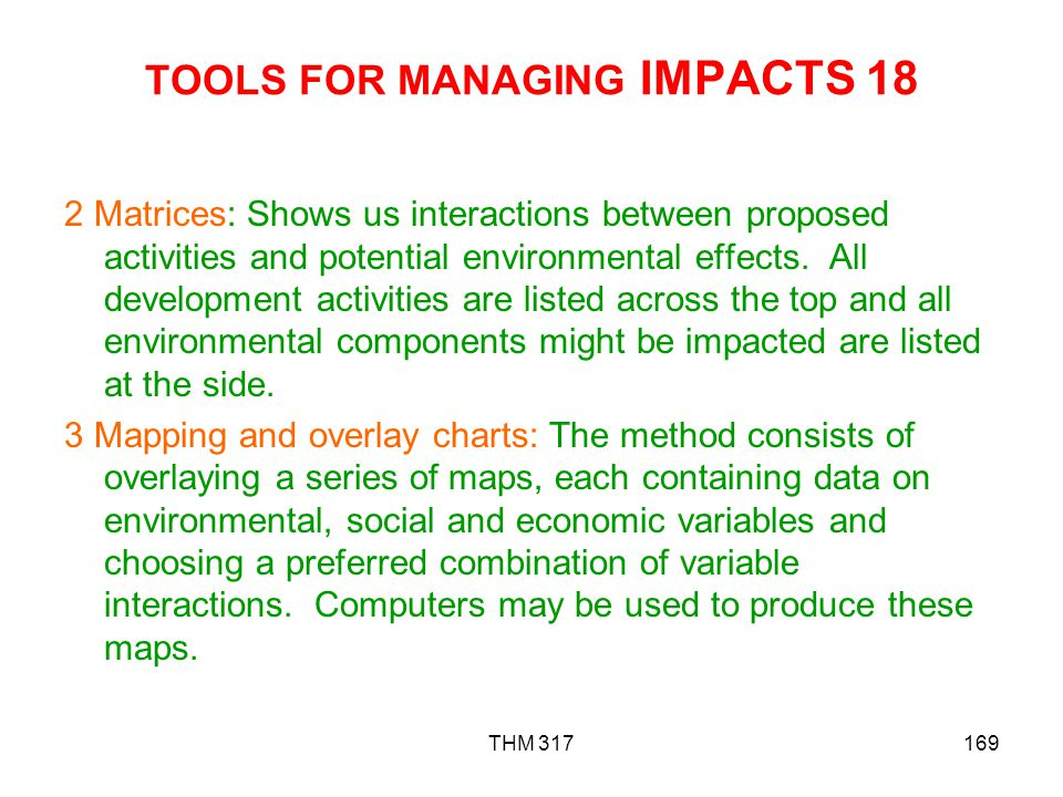 TOOLS FOR MANAGING IMPACTS 18