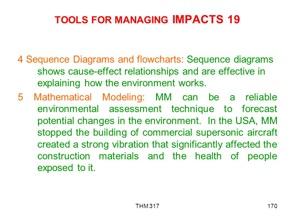 TOOLS FOR MANAGING IMPACTS 19