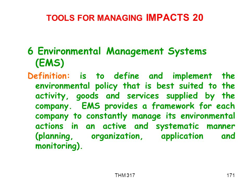 TOOLS FOR MANAGING IMPACTS 20