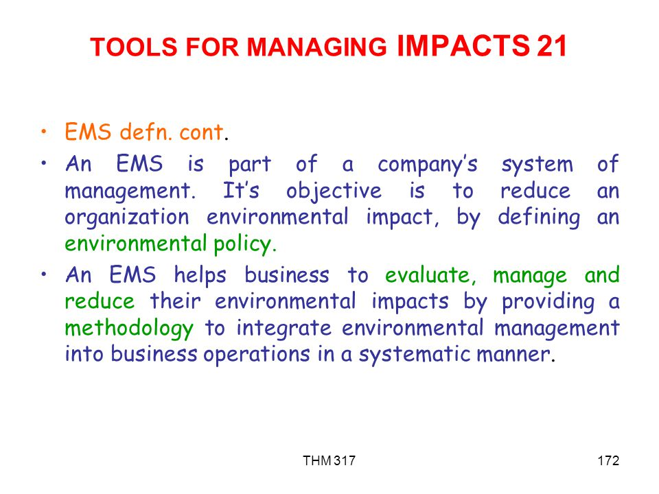 TOOLS FOR MANAGING IMPACTS 21