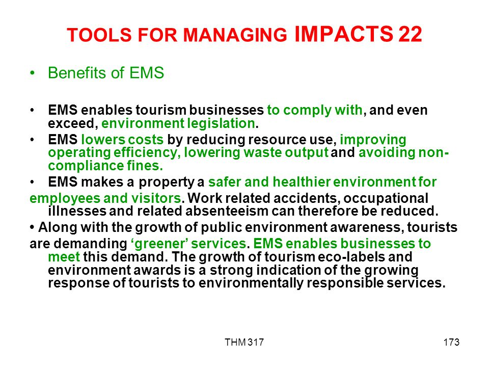 TOOLS FOR MANAGING IMPACTS 22