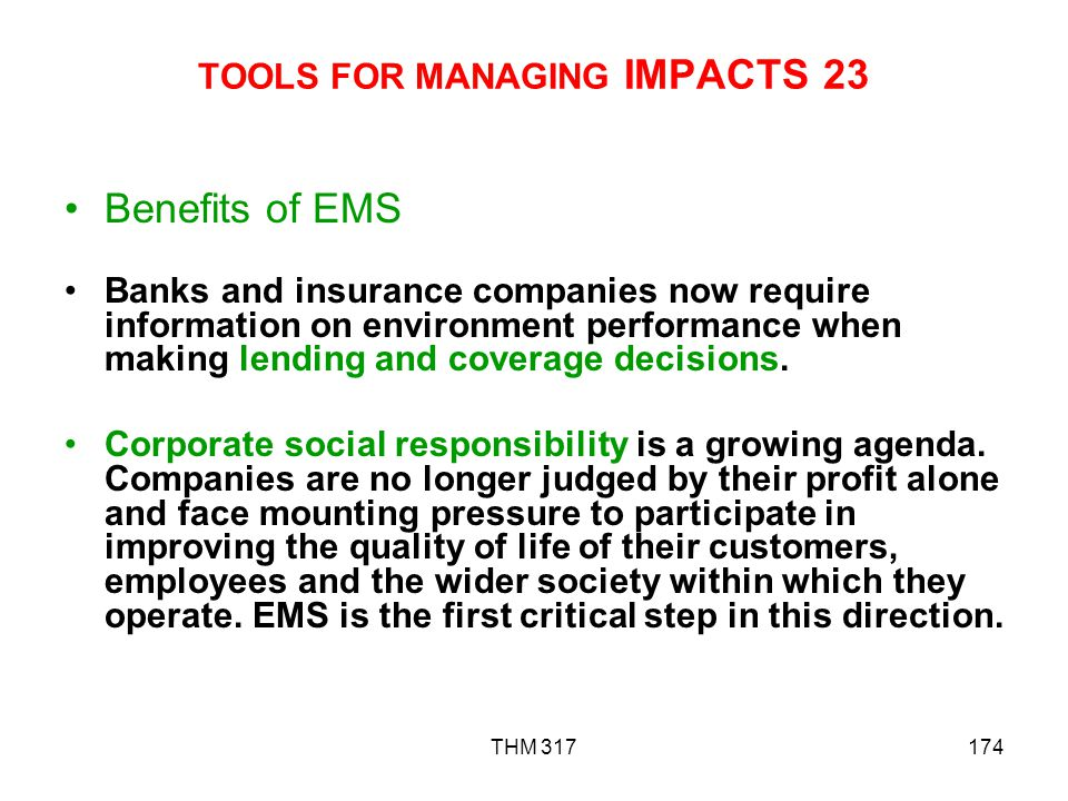 TOOLS FOR MANAGING IMPACTS 23