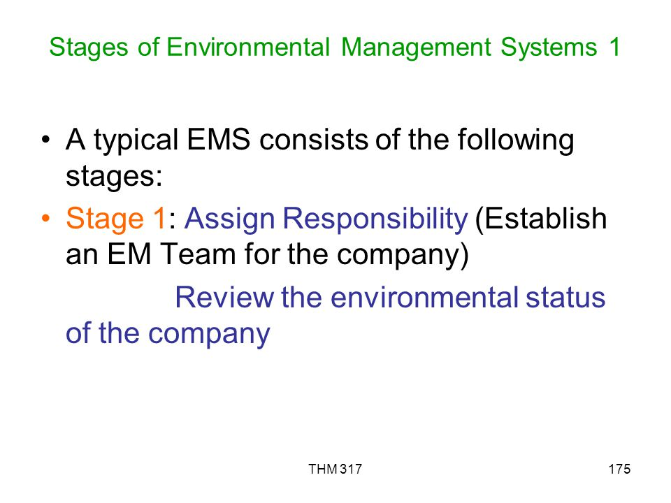Stages of Environmental Management Systems 1
