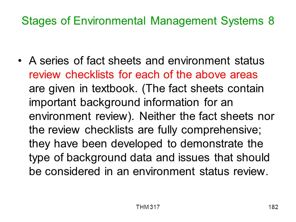 Stages of Environmental Management Systems 8
