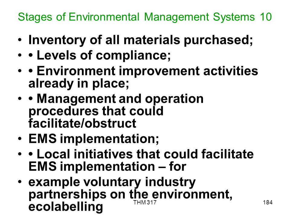Stages of Environmental Management Systems 10