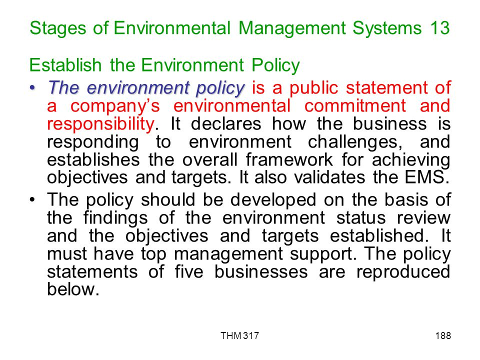 Stages of Environmental Management Systems 13