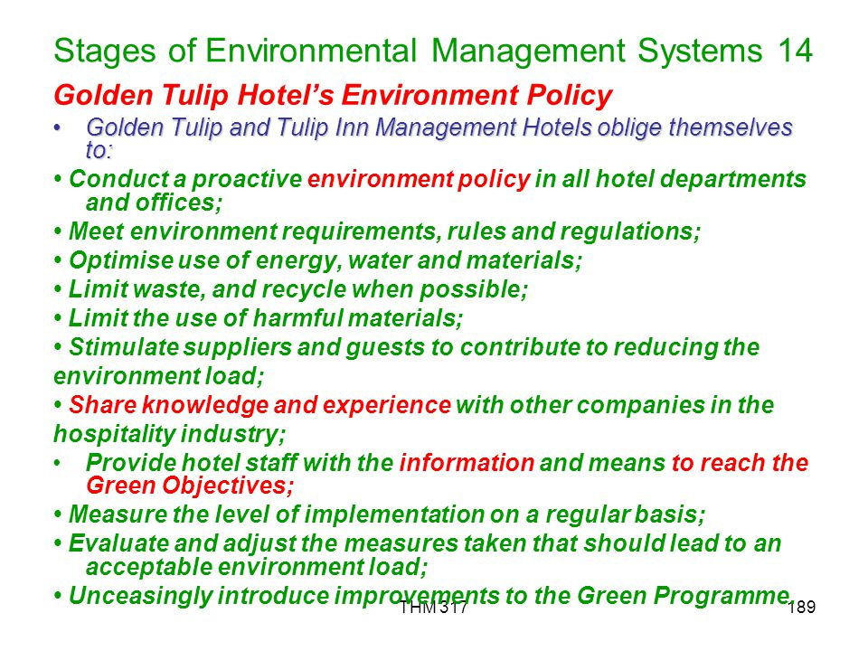 Stages of Environmental Management Systems 14