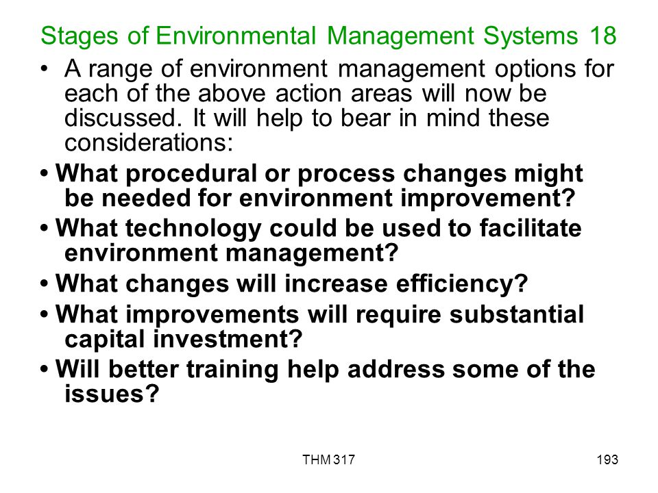 Stages of Environmental Management Systems 18